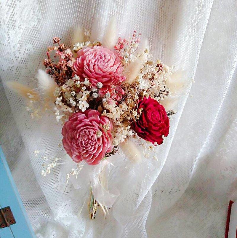 粉紅色的幸福-手做乾燥花束