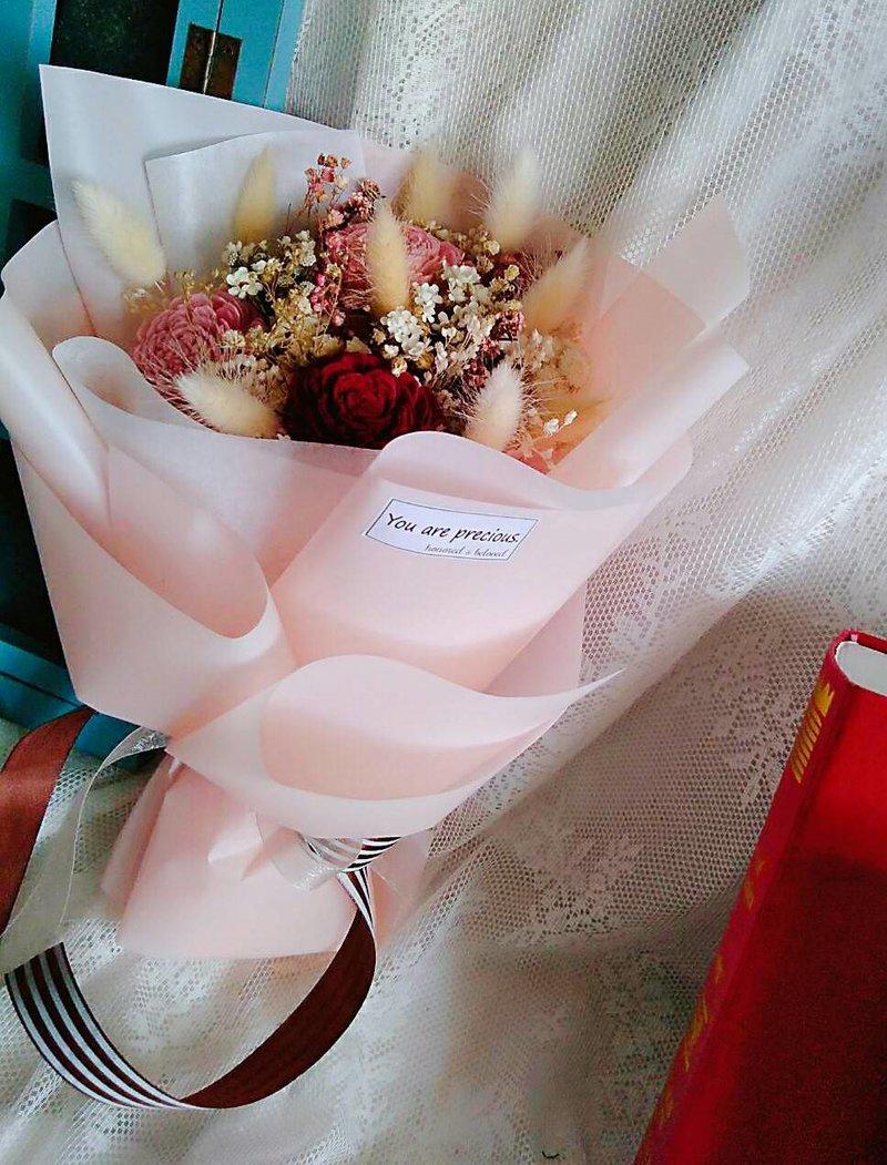 粉紅色主題的快樂-客製化乾燥捧花