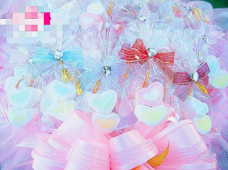 迷你心棉花糖2顆帶鑽蝴蝶結包裝