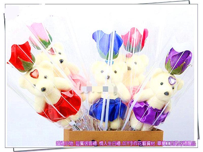 單支小熊玫瑰香皂花束