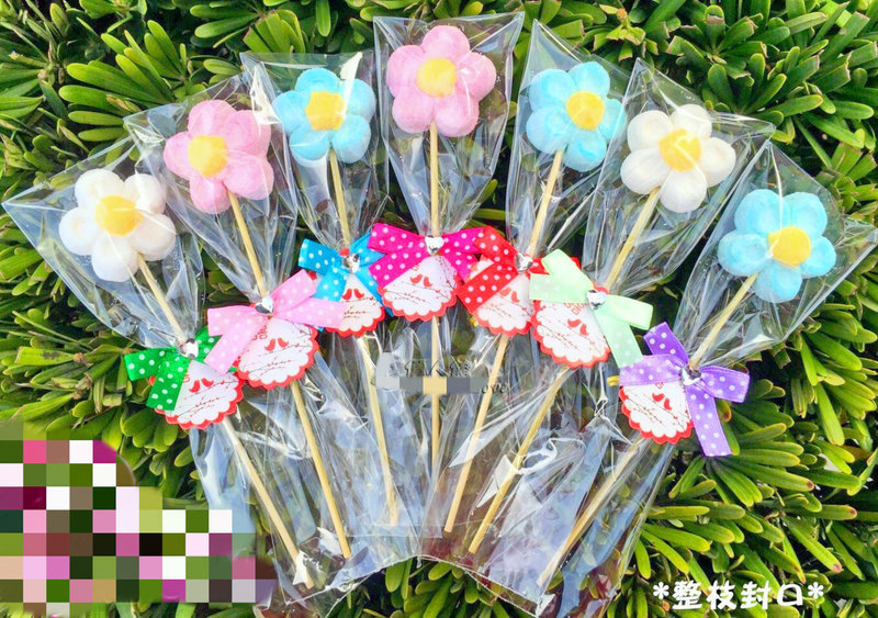 義大利進口花朵棉花糖串 3色朵花棉花糖