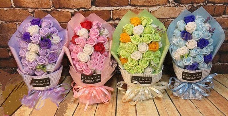 韓版33朵玫瑰花精油香皂花束