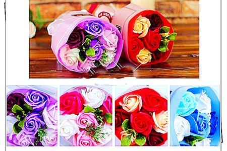 婚禮小物 法式 7朵玫瑰手捧花 附質感提