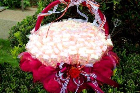 真心棉花糖搭喜糖籃組合/幸運心棉花糖雙層