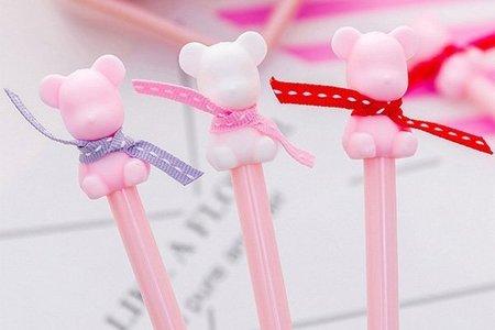 超Q精緻 可愛泰迪熊造型緞帶中性筆