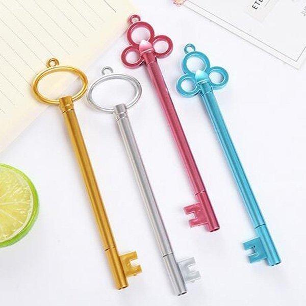 4色金屬仿古中性筆鑰匙造型 不挑款