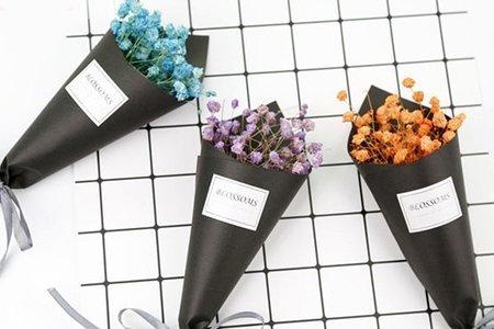 迷你滿天星乾燥花黑色紙筒花束 (紙盒裝)