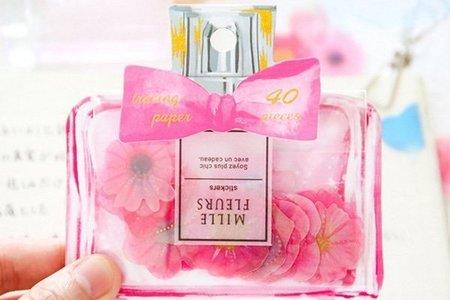 進口 蝴蝶結夢幻香水瓶花朵貼紙