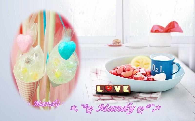 最新包裝-精緻甜筒棉花糖閃亮愛心-吊繩款