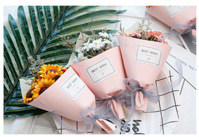 第二代手工乾燥花尊貴粉紅紙筒迷你小花束