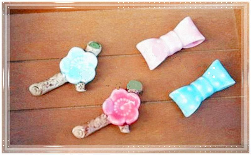 🌸可愛兩色梅花與蝴蝶結造型筷架 💮