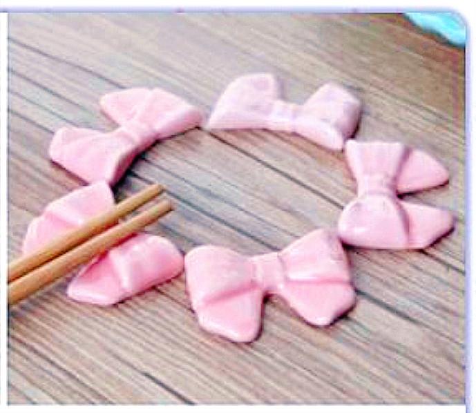 🎀 可愛扁形蝴蝶結筷架 🎀