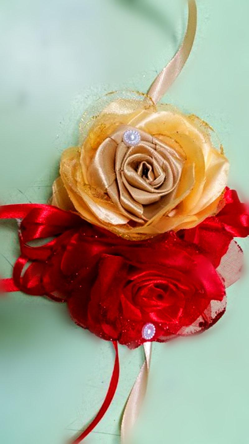 手工紗網玫瑰雙雙對對婚禮車手把花飾