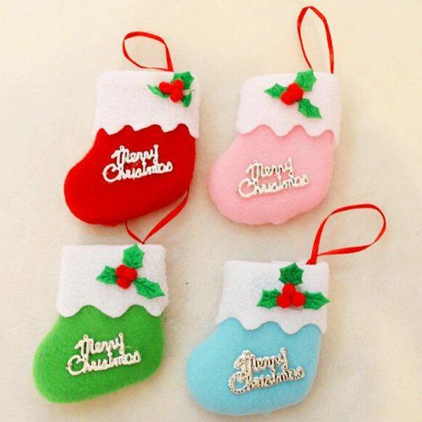 聖誕紅小襪子靴子 五彩裝飾禮物袋