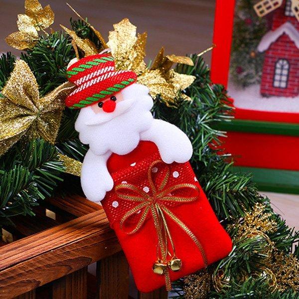 聖誕節蝴蝶結鈴鐺麋鹿小熊掛飾紅色禮物袋