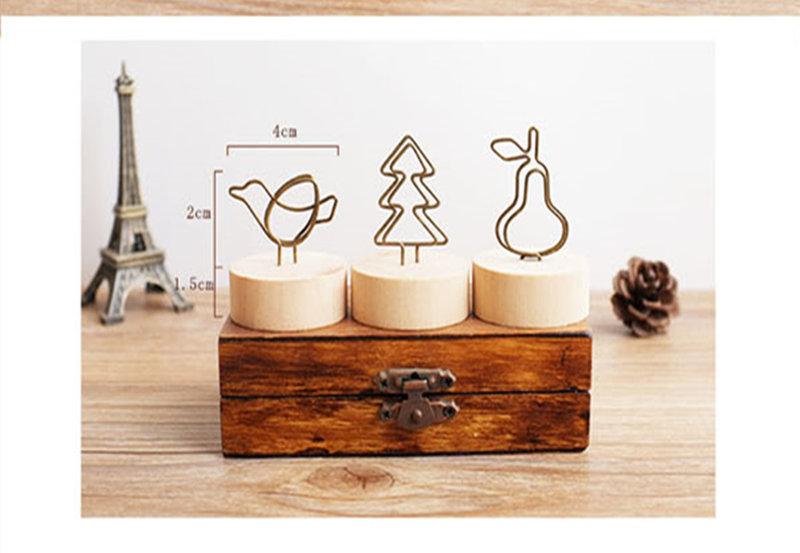 日式然木鐵藝可愛造型圓底便條夾