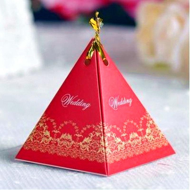 紅色-三角喜糖袋 糖果盒