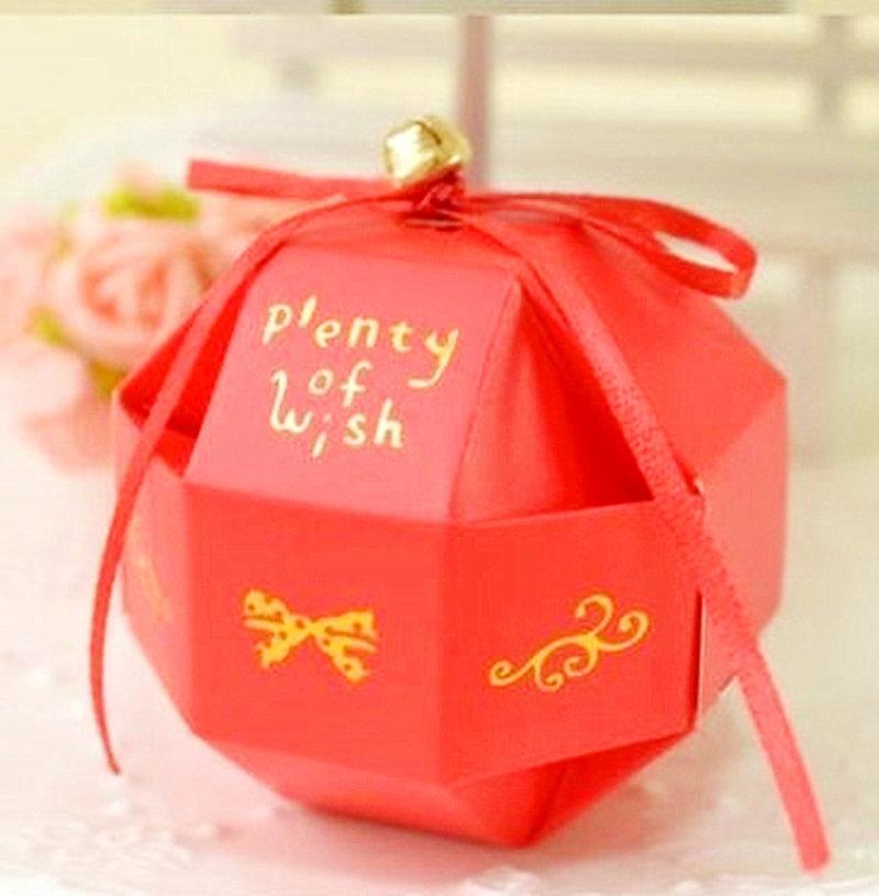 紅色-八面玲瓏喜糖盒