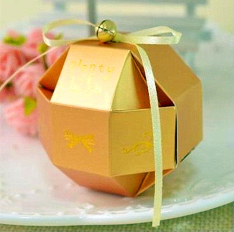 金色-八面玲瓏喜糖盒