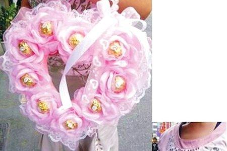 金色小與粉色大牡丹手工製作花金莎喜糖包
