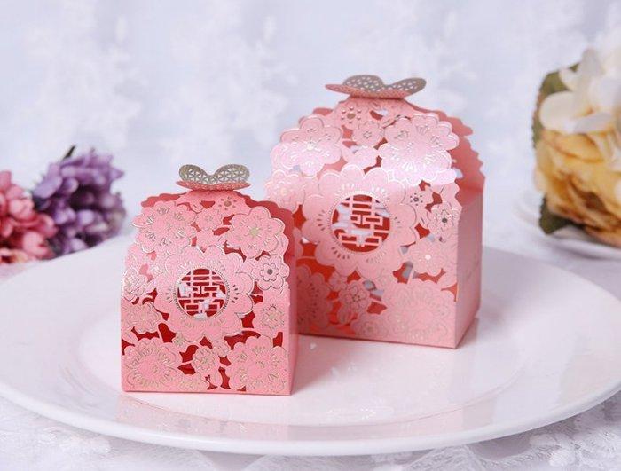 燙金蝴蝶花喜糖盒 浪漫蝶戀花