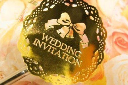 婚禮請柬 K01 蝴蝶結燙金貼紙 囍字貼