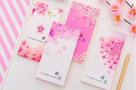日式櫻花紛飛可撕四種類型長條 便條 計畫紙