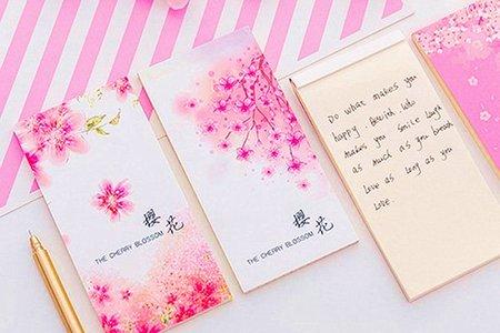 日式櫻花紛飛可撕四種類型長條 便條 計畫