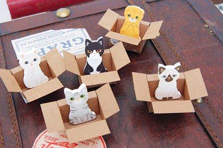 【進口】花馬村!二代求包養愛貓園小巧盒裝便條紙 便利貼