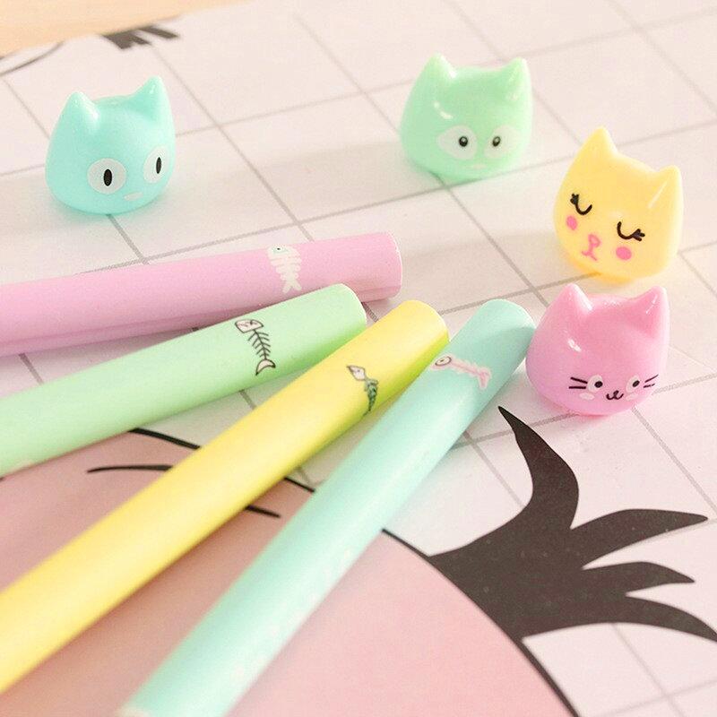 馬卡龍色貓咪中性筆 動物中性筆 創意筆桿
