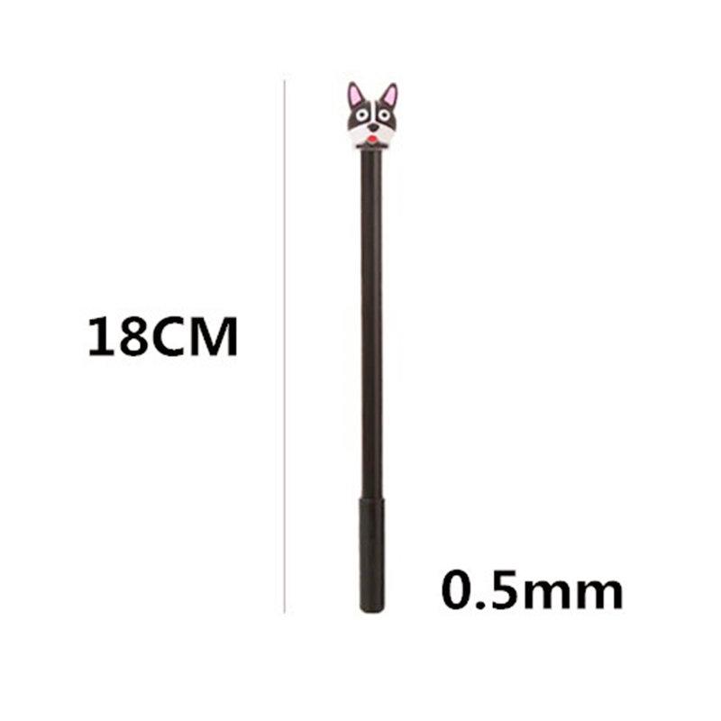 韓版鬥牛犬中性筆 卡通矽膠狐狸頭像中性筆