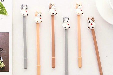 沁琳韓版可愛小狗中性筆 哈士奇狗狗 北極熊造型狗 韓國創意文具 黑色水筆可愛卡通簽字筆0.5mm