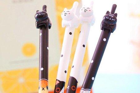 沁琳韓版可愛翹尾猫中性筆 創意卡通筆 學生水性筆 優質辦公中性筆