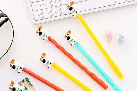 韓國創意呆呆犬中性筆 立體矽膠可愛小狗筆 卡通學習文具筆 辦公用品水性簽字筆