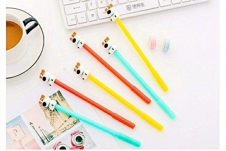 韓國創意呆呆犬中性筆 立體矽膠可愛小狗筆