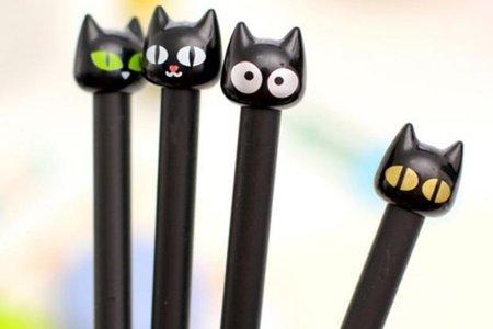 可愛大眼猫咪中性筆 韓國創意文具水筆
