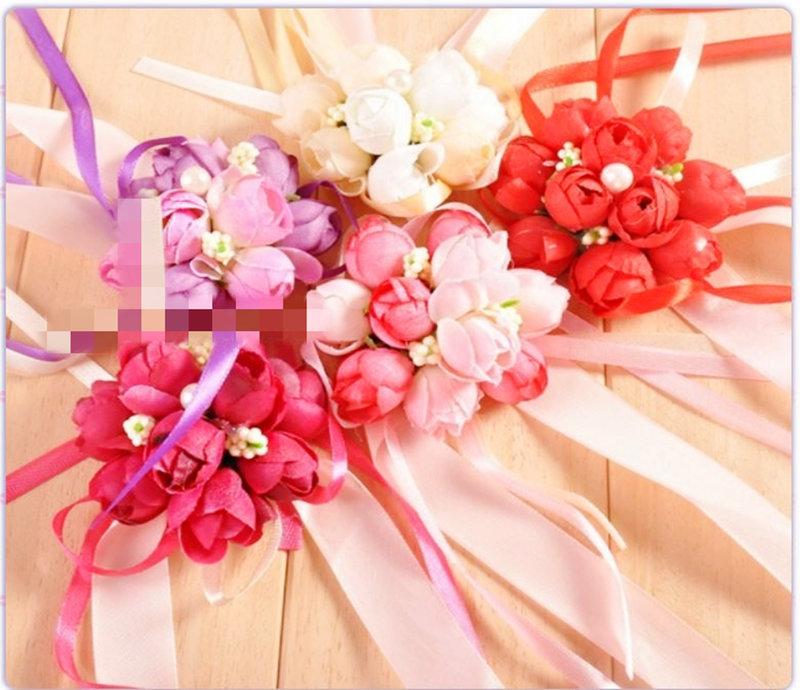 仿真玫瑰花珍珠伴娘姊妹手腕花訂製兩款