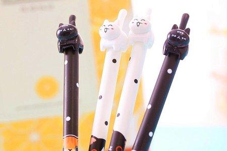 韓版可愛翹尾猫中性筆 創意卡通筆 學生水