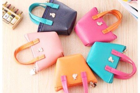 沁琳婚禮韓式手拎包 可愛零錢包 手拎皮質小包 糖果色可愛小錢包