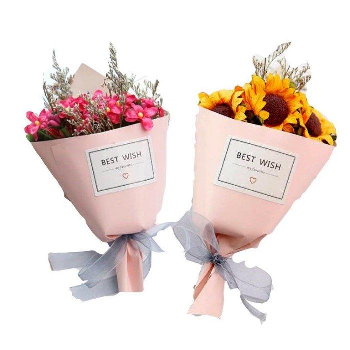 新款~第二代粉紅紙筒迷你手工乾燥花小花束