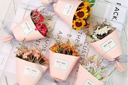 第二代粉紅紙筒迷你手工乾燥花小花束 盒裝