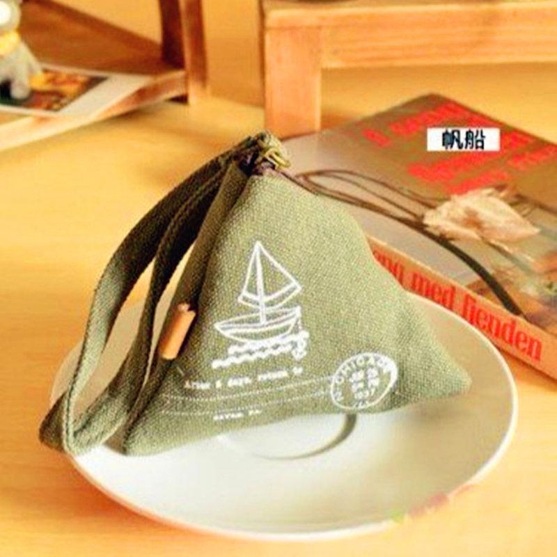 現貨 復古歐風挪威三角帆布粽子零錢包