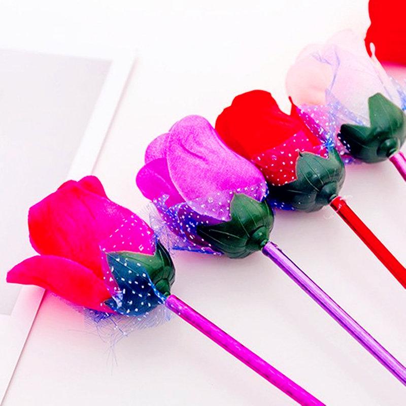 仿真塑膠玫瑰花紗網原子筆 圓珠筆『不挑款