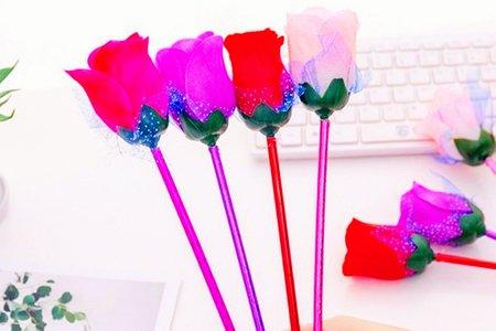 仿真塑膠玫瑰花紗網原子筆 圓珠筆 不挑款