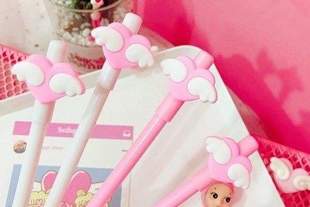 現貨沁琳婚禮品 夢幻粉色愛心翅膀中性筆