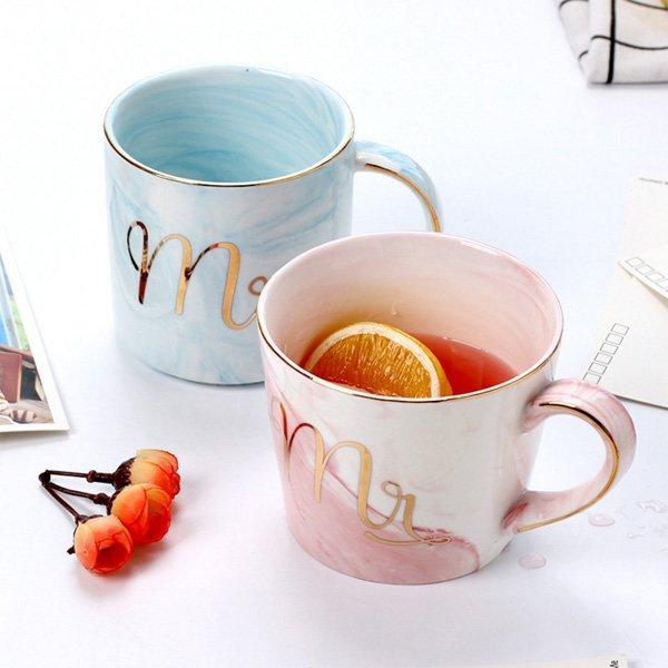 大理石紋路金邊陶瓷對杯 馬克杯組
