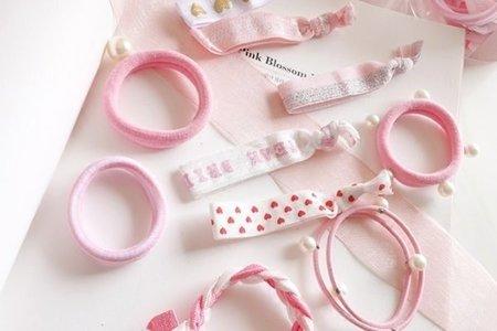 現貨 日韓版 歐美時尚 少女粉色系髮束組