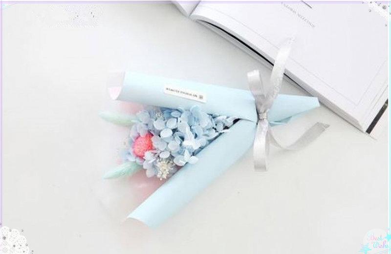 缺貨-繡球永生花束-藍色禮盒