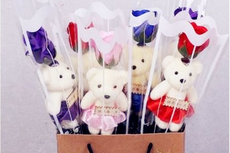新款-玫瑰小熊花束 花束熊 現貨 贈品