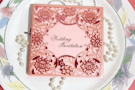 手工精雕-粉紅色燙金、韓版喜帖、燙金喜帖